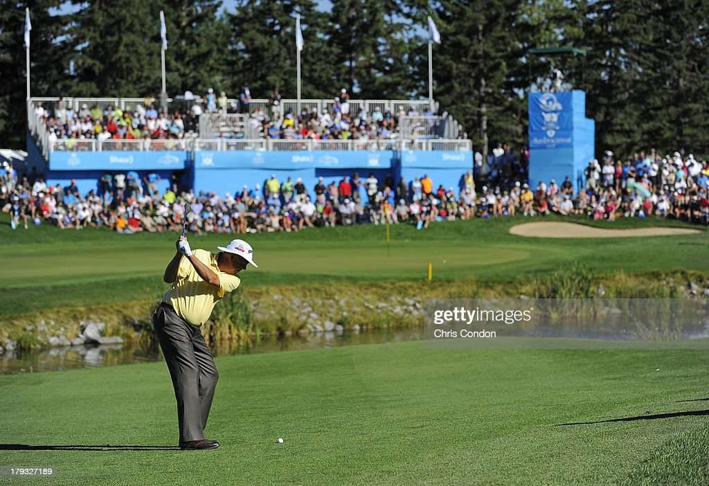 <a gi-track='captionPersonalityLinkClicked' href=/galleries/search?phrase=Kirk+Triplett&family=editorial&specificpeople=216443 ng-click='$event.stopPropagation()'>Kirk Triplett</a> hits to the 18th green during the final round of the Shaw Charity Classic at Canyon Meadows Golf & Country Club on September 1, 2013 in Calgary, Alberta, Canada.