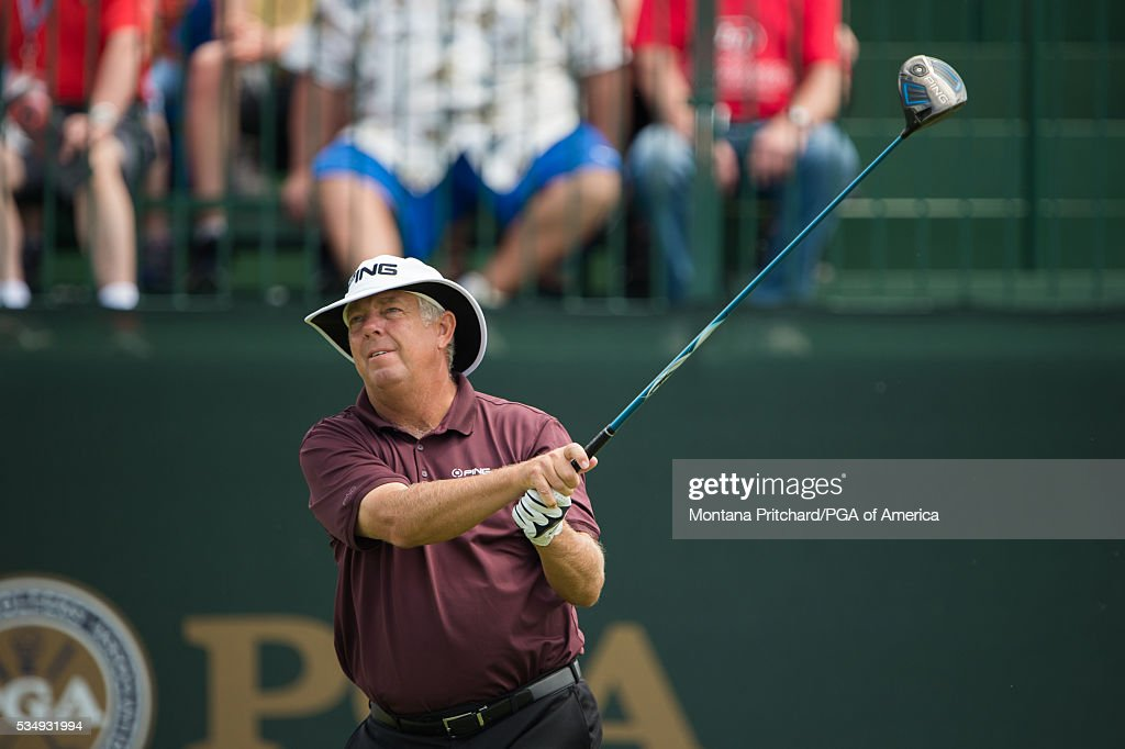 <a gi-track='captionPersonalityLinkClicked' href=/galleries/search?phrase=Kirk+Triplett&family=editorial&specificpeople=216443 ng-click='$event.stopPropagation()'>Kirk Triplett</a> hits his tee shot on the first hole during the third round for the 77th Senior PGA Championship presented by KitchenAid held at Harbor Shores Golf Club on May 28, 2016 in Benton Harbor, Michigan.