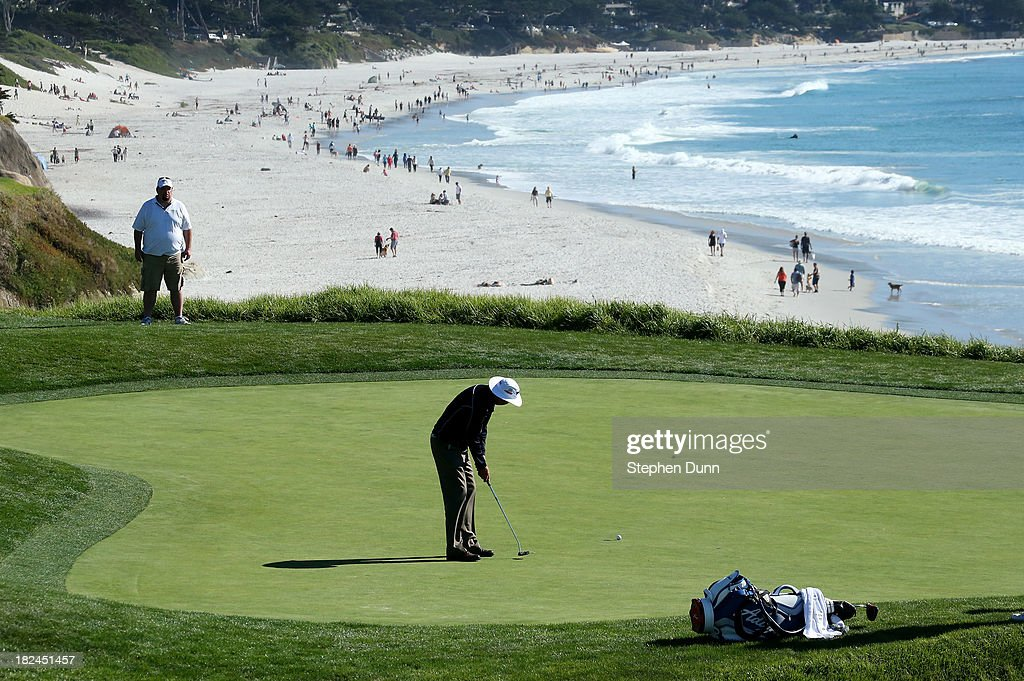 <a gi-track='captionPersonalityLinkClicked' href=/galleries/search?phrase=Kirk+Triplett&family=editorial&specificpeople=216443 ng-click='$event.stopPropagation()'>Kirk Triplett</a> putts on the ninth hole durng the final round of the Nature Valley First Tee Open at Pebble Beach at Pebble Beach Golf Links on September 29, 2013 in Pebble Beach, California.