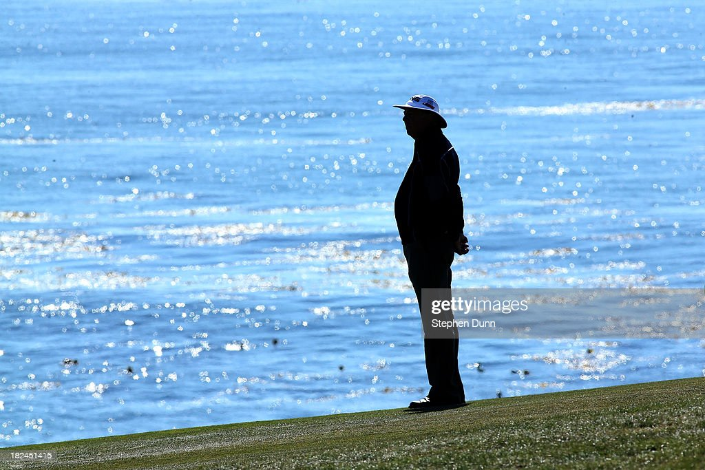 Kirk Triplett waits on the ninth fairway durng the final round of the Nature Valley First Tee Open at Pebble Beach at Pebble Beach Golf Links on September 29, 2013 in Pebble Beach, California.
