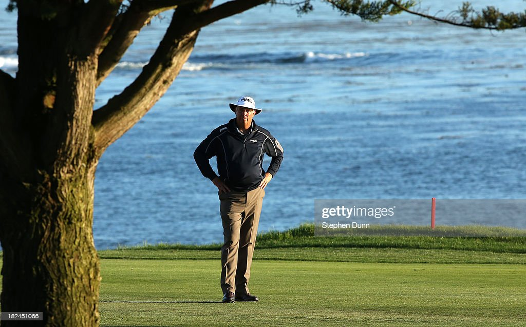 Kirk Triplett waits to hit his second shot on the 18th hole durng the final round of the Nature Valley First Tee Open at Pebble Beach at Pebble Beach Golf Links on September 29, 2013 in Pebble Beach, California.