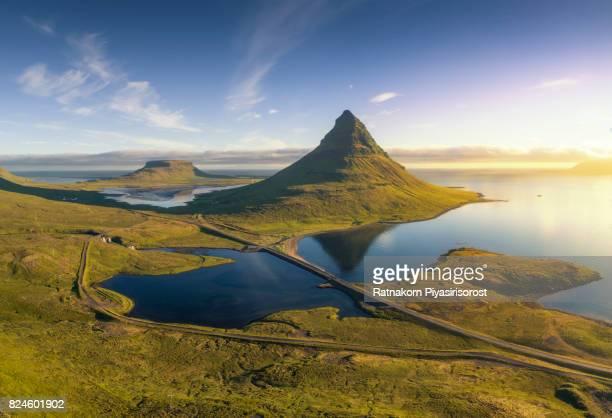 Kirkjufell Mountain in Aerial View Scene