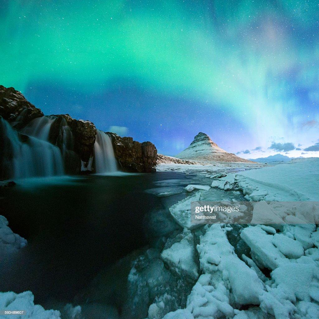 Kirkjufell Mountain with Aurora Display Iceland