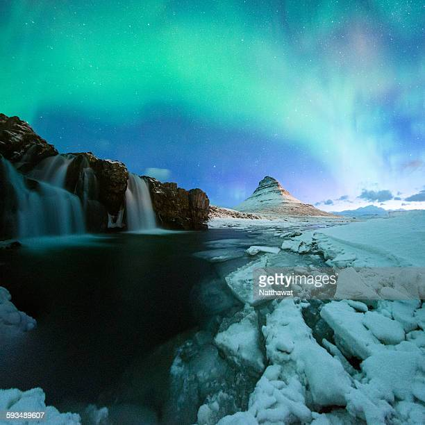 Kirkjufell Mountain with Aurora Display Iceland