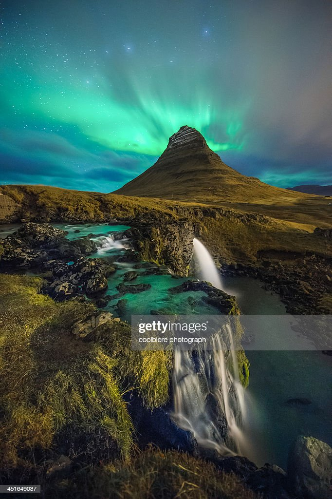 Kirkjufell with northern light in the sky : Stock Photo
