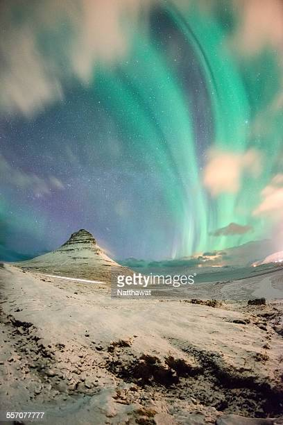 Kirkjufell with northern light in the sky