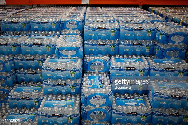 Kirkland brand bottled water is displayed for sale at a Costco Wholesale Corp store in Louisville Kentucky US on Thursday May 29 2014 Costco...