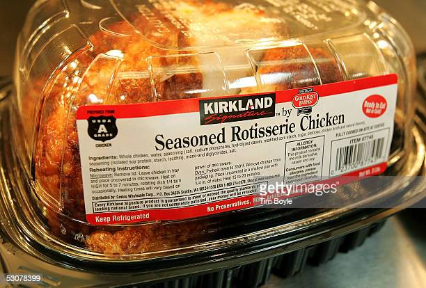 Kirkland Signature premium brand roasted rotisserie chicken sits at a Costco store June 16 2005 in Niles Illinois The larger 'big box' stores such as...