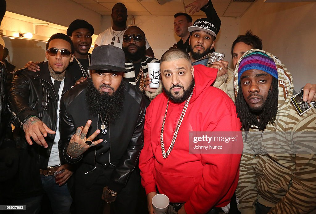 Kirko Bangz, Stalley, DJ Khaled, Wale, (back row from left) Meek Mill, Rick Ross and Swizz Beatz attend the Rick Ross 'Mastermind' Listening Event at New World Stages on February 11, 2014 in New York City.