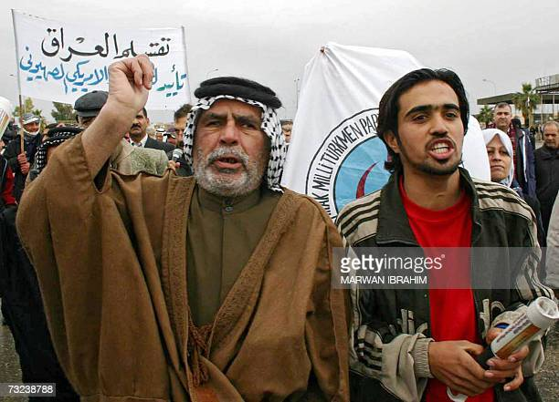 Iraqi Arab residents of the oilrich city of Kirkuk shout slogans during a demonstration in the northern city 07 February 2007 Iraqi Arabs protested...