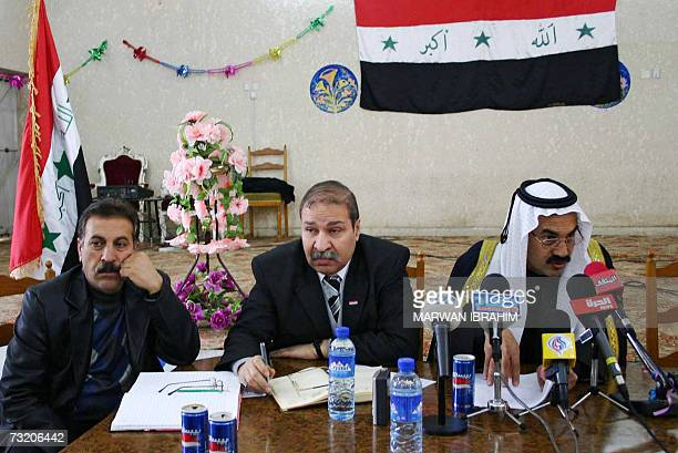 The general coordinator of the Arab council in Kirkuk Ahmed Hamid alObaidi speaks during a joint press conference with other unidentified officials...