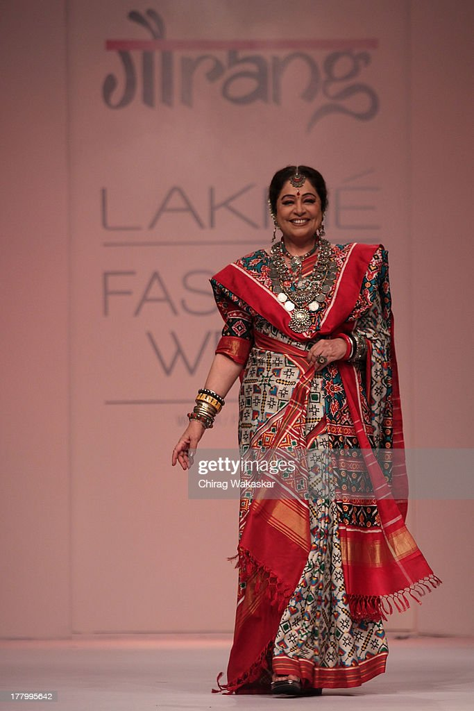 Kirron Kher showcases designs by Gaurang Shah during day 4 of Lakme Fashion Week Winter/Festive 2013 at the Hotel Grand Hyatt on August 26, 2013 in Mumbai, India.