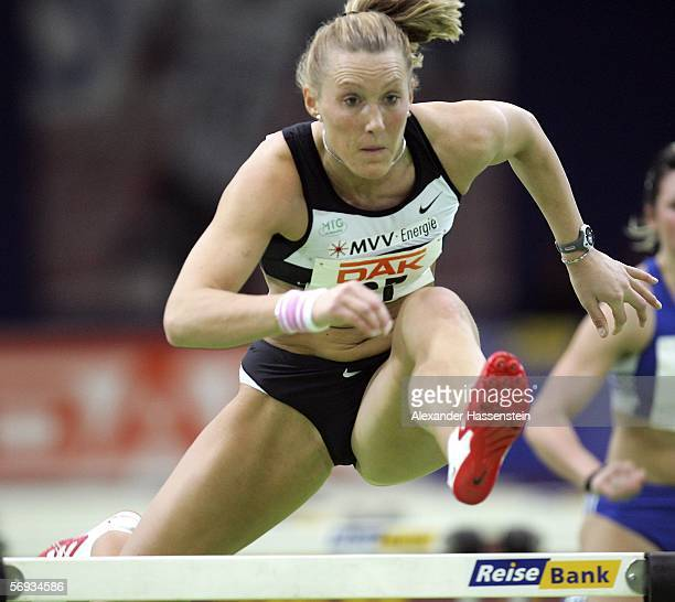 Kirsten Bolm of Germany wins the women's 60m hurdles comeptition during the day 1 of the Athletics German National Indoor Championships at the Europa...
