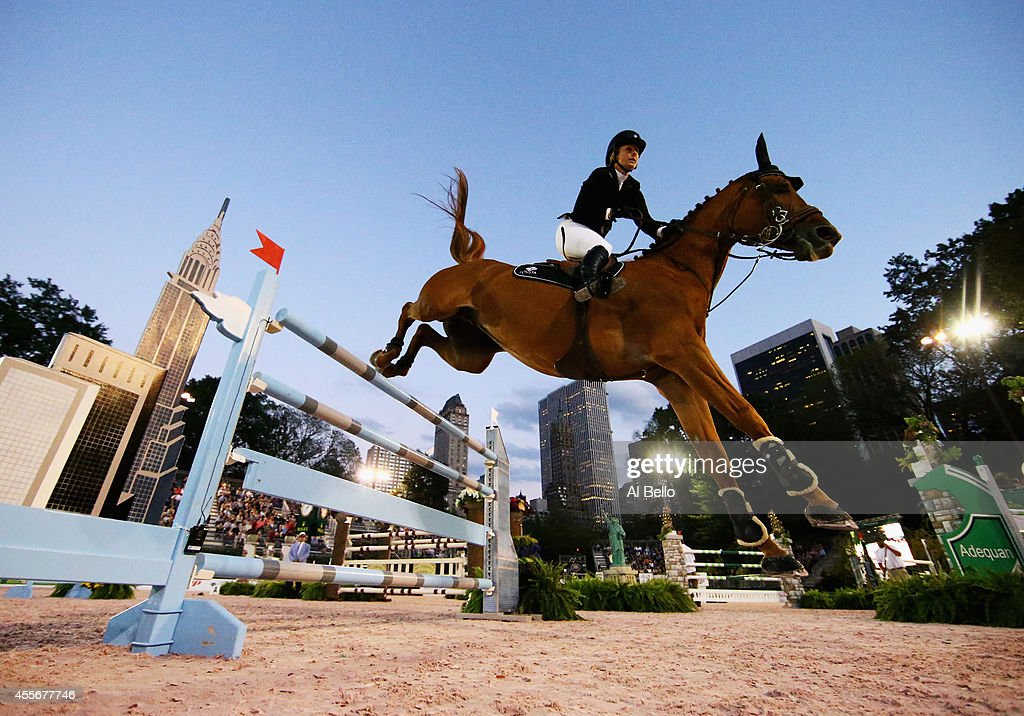 Kirsten Coe jumps during the Central Park Horse Show on September 18 2014 in New York City
