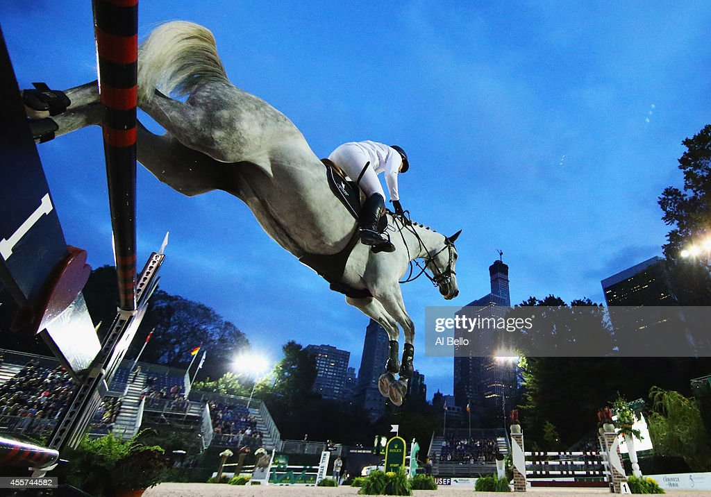 Kirsten Coe jumps during the Central Park Horse Show on September 19 2014 in New York City