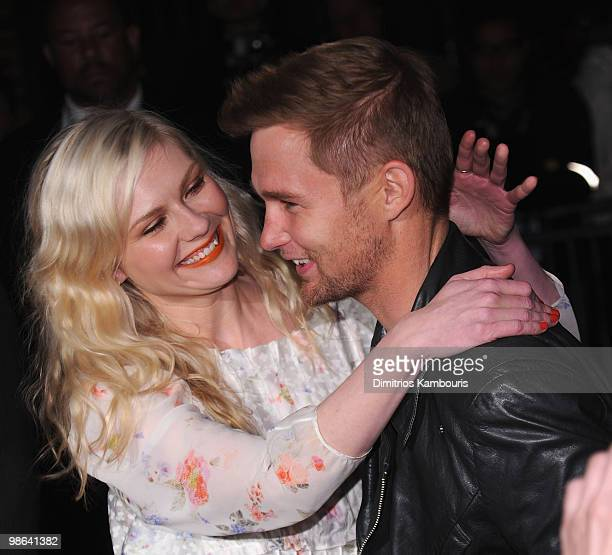Kirsten Dunst and Brian Geraghty attend the 'Between The Lines' premiere during the 9th Annual Tribeca Film Festival at the Village East Cinema on...
