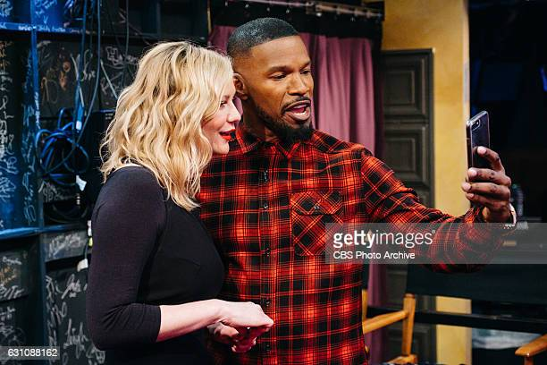 Kirsten Dunst and Jamie Foxx backstage during 'The Late Late Show with James Corden' Thursday January 5 2017 On The CBS Television Network