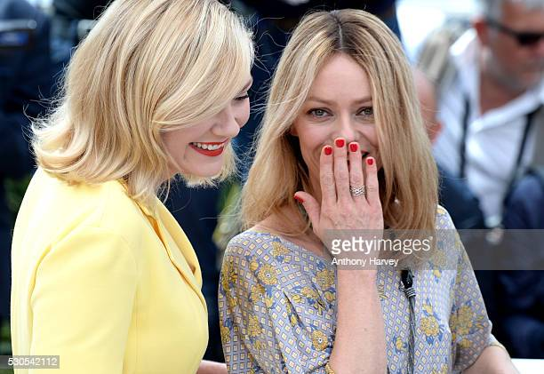 Kirsten Dunst and Vanessa Paradis attend the Jury Photocall during the 69th Annual Cannes Film Festival at the Palais des Festivals on May 11 2016 in...