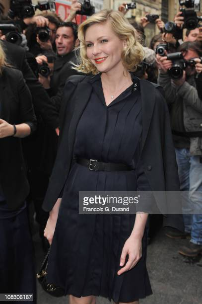 Kirsten Dunst arrives at Pavillon Cambon to attend the Chanel show as part of the Paris Haute Couture Fashion Week Spring/Summer 2011 at Pavillon...