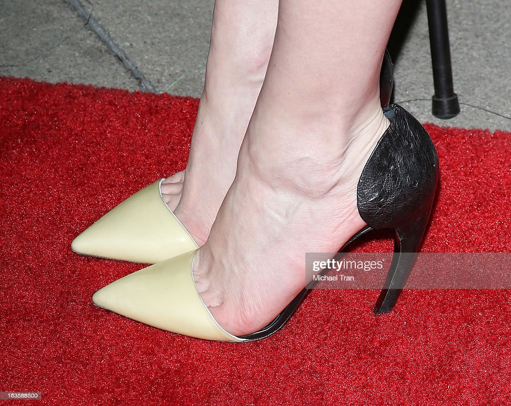 Kirsten Dunst (shoe detail) arrives at the Los Angeles premiere of 'Upside Down' held at ArcLight Hollywood on March 12, 2013 in Hollywood, California.