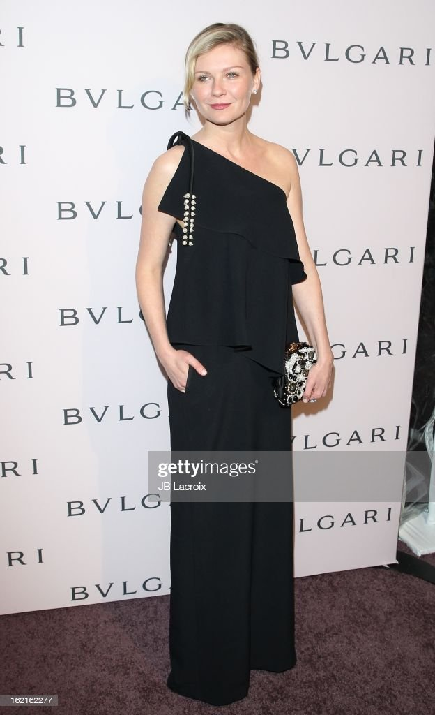 Kirsten Dunst attends the BVLGARI celebration of Elizabeth Taylor's collection of BVLGARI jewelry at Bvlgari Beverly Hills on February 19, 2013 in Beverly Hills, California.