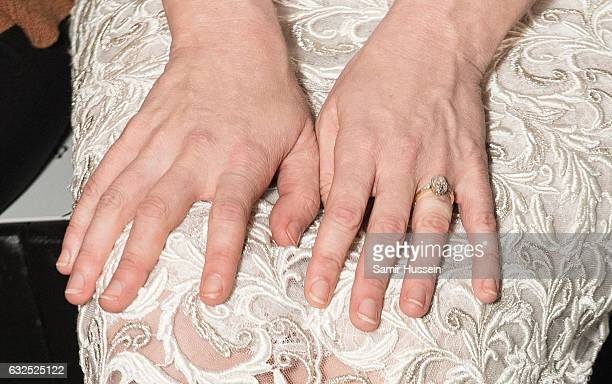 Kirsten Dunst engagement ring is seen she attends the RalphRusso Haute Couture Spring Summer 2017 show as part of Paris Fashion Week on January 23...