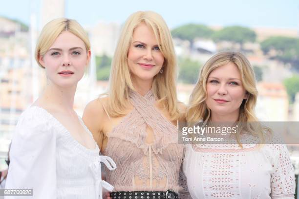Kirsten Dunst Nicole Kidman and Elle Fanning attend the 'The Beguiled' Photocall during the 70th annual Cannes Film Festival at Palais des Festivals...