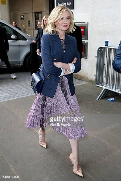 Kirsten Dunst seen arriving at the BBC Radio 1 Studios on March 31 2016 in London England