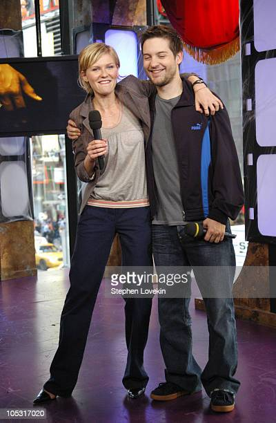 Kirsten Dusnt and Tobey Maguire during Tobey Maguire and Kirsten Dunst Visit MTV's 'TRL' June 29 2004 at MTV Studios in New York City New York United...
