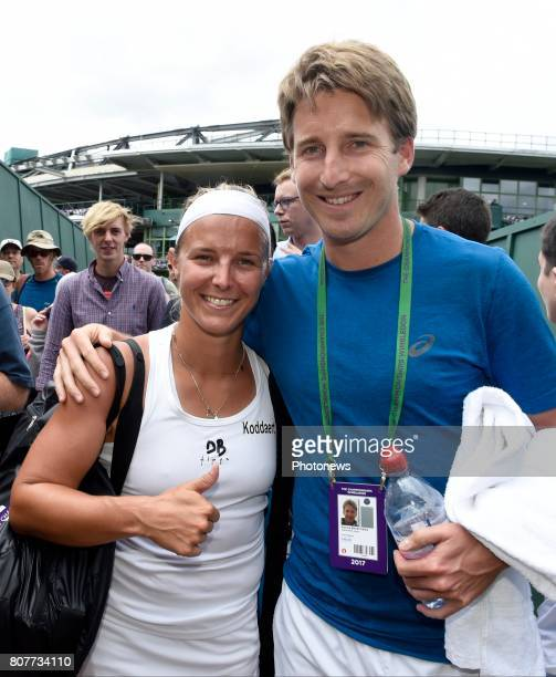 Kirsten Flipkens of Belgium and Coach Maxime Braeckman pictured during her first winning match at the championships Wimbledon 2017 vs Doi Misaki on...