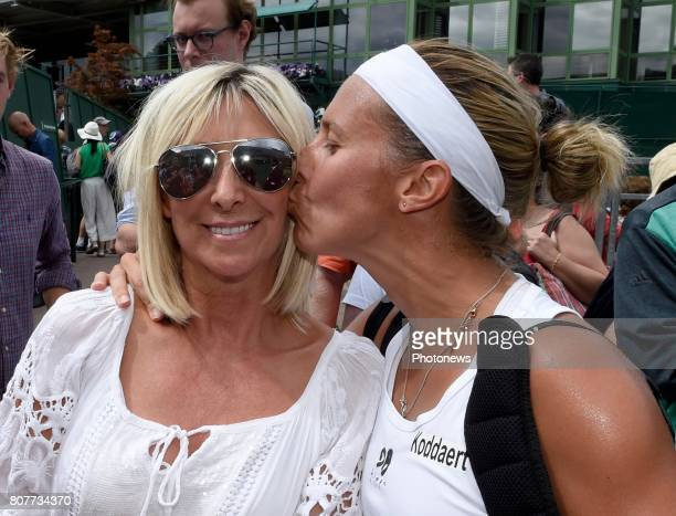 Kirsten Flipkens of Belgium and her mother pictured during her first winning match at the championships Wimbledon 2017 vs Doi Misaki on July 04 2017...