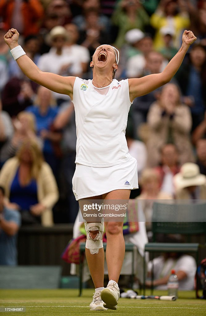 <a gi-track='captionPersonalityLinkClicked' href=/galleries/search?phrase=Kirsten+Flipkens&family=editorial&specificpeople=598749 ng-click='$event.stopPropagation()'>Kirsten Flipkens</a> of Belgium celebrates match point during the Ladies' Singles quarter-final match against Petra Kvitova of Czech Republic on day eight of the Wimbledon Lawn Tennis Championships at the All England Lawn Tennis and Croquet Club at Wimbledon on July 2, 2013 in London, England.