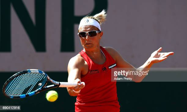 Kirsten Flipkens of Belgium in action during the second round match against Samantha Stosur of Australia on day four of the 2017 French Open at...