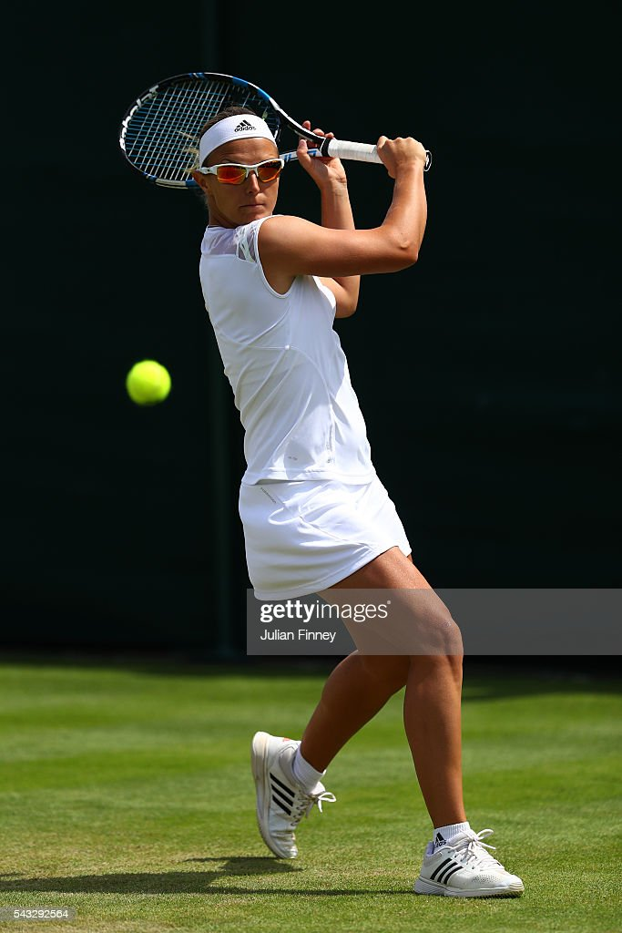 <a gi-track='captionPersonalityLinkClicked' href=/galleries/search?phrase=Kirsten+Flipkens&family=editorial&specificpeople=598749 ng-click='$event.stopPropagation()'>Kirsten Flipkens</a> of Belgium plays a forehand shot during the Ladies Singles first round match against Nicole Gibbs of The united States on day one of the Wimbledon Lawn Tennis Championships at the All England Lawn Tennis and Croquet Club on June 27th, 2016 in London, England.