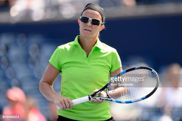 Kirsten Flipkens of Belgium reacts during her second round match of the 2017 Rogers Cup tennis tournament on August 9 at Aviva Centre in Toronto ON...