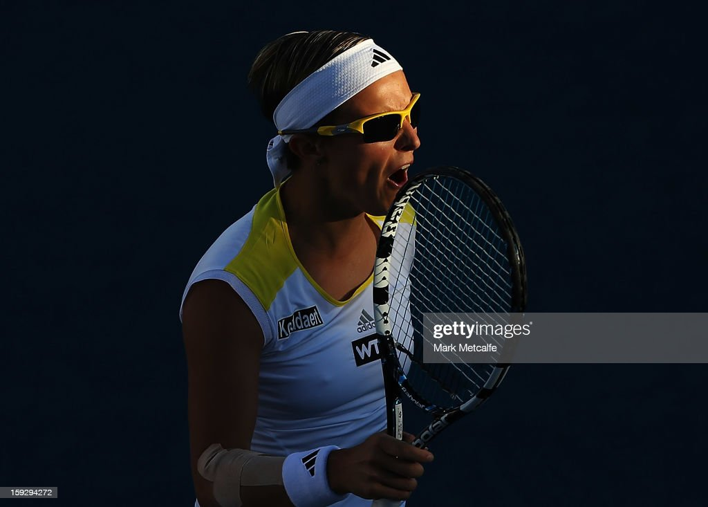 <a gi-track='captionPersonalityLinkClicked' href=/galleries/search?phrase=Kirsten+Flipkens&family=editorial&specificpeople=598749 ng-click='$event.stopPropagation()'>Kirsten Flipkens</a> of Belgium reacts to losing a point in her semi final match against Mona Barthel of Germany during day eight of the Hobart International at Domain Tennis Centre on January 11, 2013 in Hobart, Australia.
