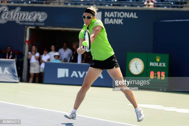 Kirsten Flipkens of Belgium returns the ball during her second round match of the 2017 Rogers Cup tennis tournament on August 9 at Aviva Centre in...