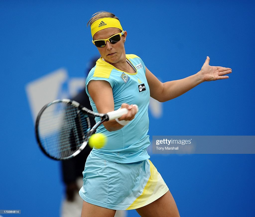 Kirsten Flipkens of Belguim hits a forehand during her match against Ajla Tomljanovic of Croatia during the AEGON Classic Tennis Tournament at Edgbaston Priory Club on June 12, 2013 in Birmingham, England.