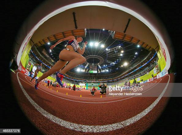 Kirsten McAslan of Great Britain Northern Ireland competes in the Women's 400 metres rounds during day one of the 2015 European Athletics Indoor...
