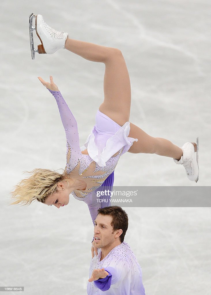 Kirsten Moore-Towers (top) and Dylan Moscovitch (bottom) of Canada perform during pairs free skating event at the NHK Trophy, the last leg of the six-stage ISU figure skating Grand Prix series, in Rifu, northern Japan, on November 25, 2012. The Canadian pair won the silver medal in the competition. AFP PHOTO/Toru YAMANAKA