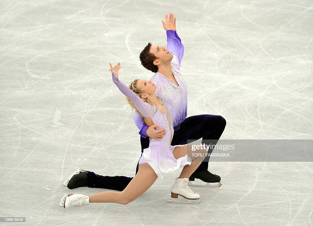 Kirsten Moore-Towers (front) and Dylan Moscovitch of Canada perform during pairs free skating event at the NHK Trophy, the last leg of the six-stage ISU figure skating Grand Prix series, in Rifu, northern Japan, on November 25, 2012. The Canadian pair won the silver medal in the competition. AFP PHOTO/Toru YAMANAKA