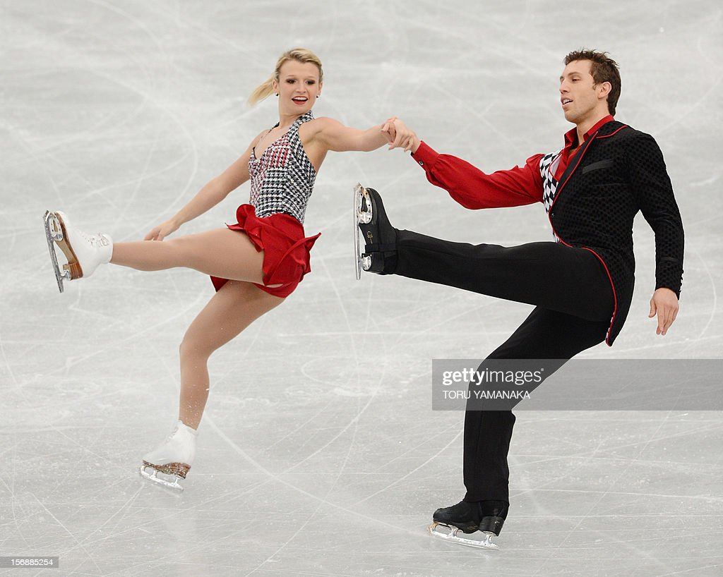 Kirsten Moore-Towers (L) and Dylan Moscovitch (R) of Canada perform during the pairs' short program in the NHK Trophy, the last leg of the six-stage ISU figure skating Grand Prix series, in Rifu, northern Japan, on November 24, 2012. AFP PHOTO / Toru YAMANAKA