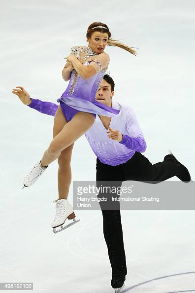 Kirsten MooreTowers and Michael Marinaro of Canada skate during the Pairs Free Skating on day two of the Rostelecom Cup ISU Grand Prix of Figure...