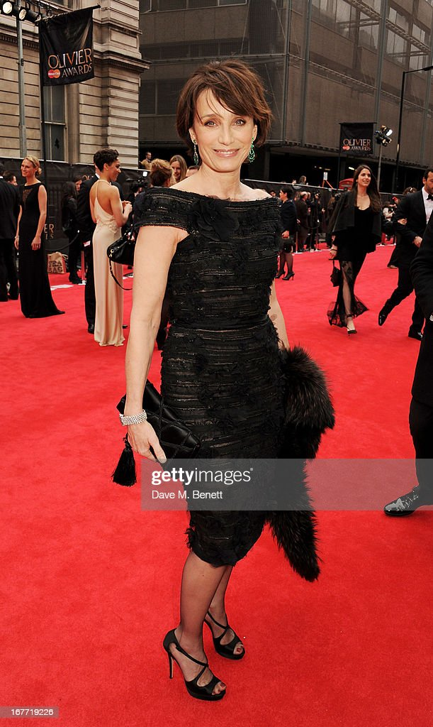 Kirsten Scott Thomas arrives at The Laurence Olivier Awards 2013 at The Royal Opera House on April 28, 2013 in London, England.