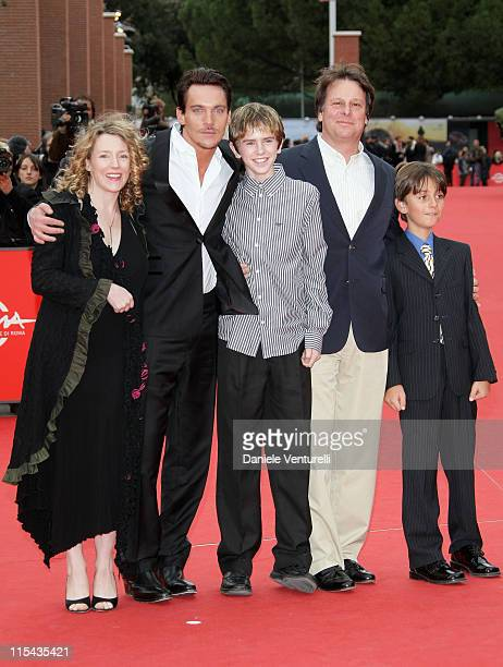 Kirsten Sheridan director Jonathan Rhys Meyers Freddie Highmore and guests attends the 'August Rush' premiere during Day 3 of the 2nd Rome Film...