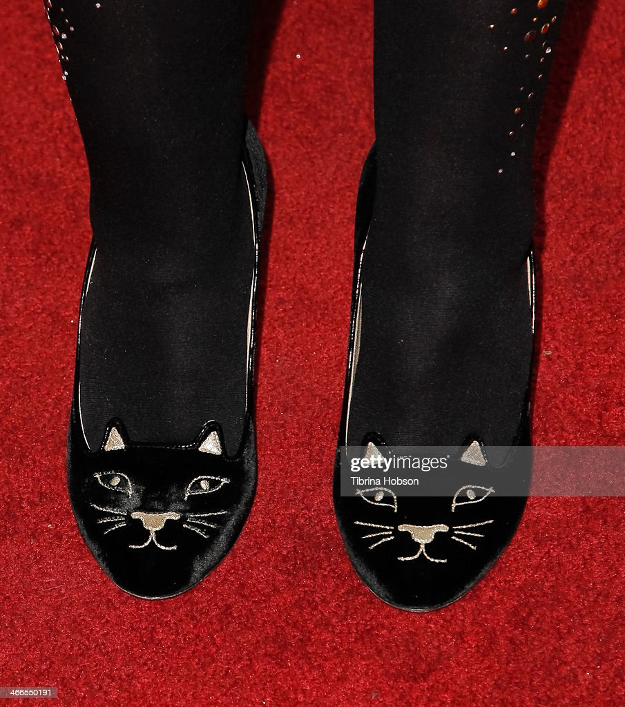 <a gi-track='captionPersonalityLinkClicked' href=/galleries/search?phrase=Kirsten+Vangsness&family=editorial&specificpeople=2097625 ng-click='$event.stopPropagation()'>Kirsten Vangsness</a> (shoe detail) attends the 2nd annual Borgnine movie star gala honoring actor Joe Mantegna at Sportman's Lodge on February 1, 2014 in Studio City, California.