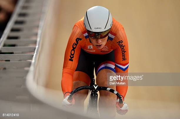 Kirsten Wild of Holland competes in The Women's Omnium Flying Lap during Day Five of the UCI Track Cycling World Championships at Lee Valley Velopark...