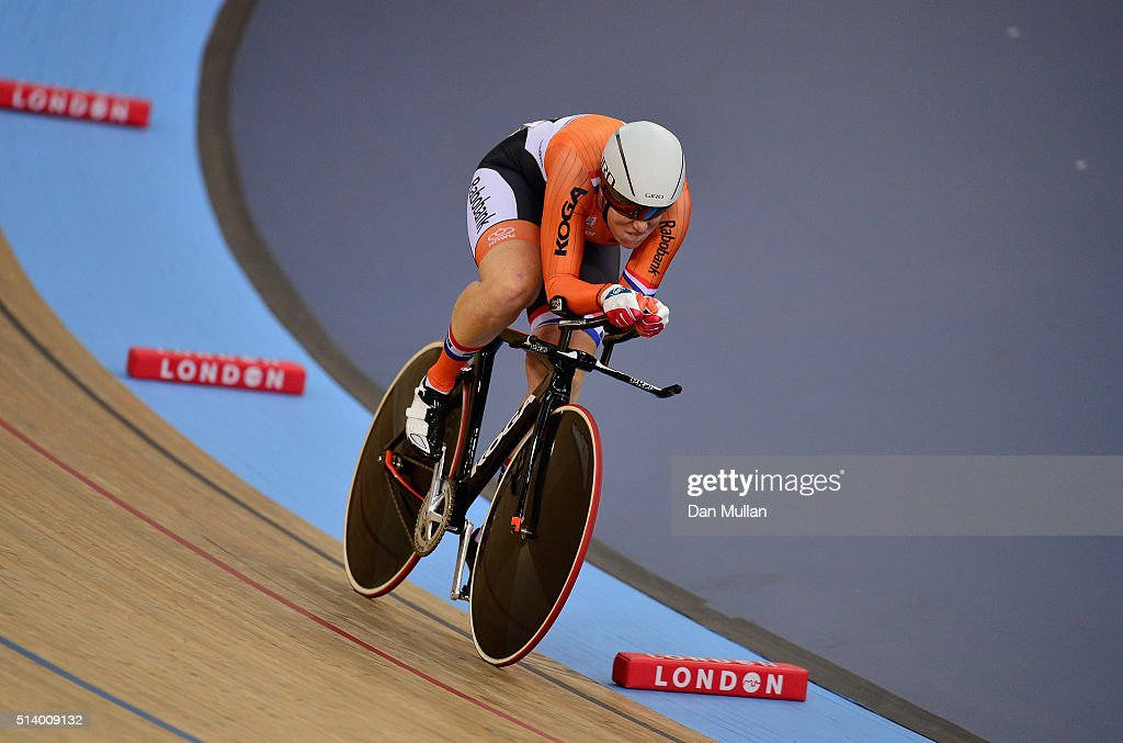 <a gi-track='captionPersonalityLinkClicked' href=/galleries/search?phrase=Kirsten+Wild&family=editorial&specificpeople=5701453 ng-click='$event.stopPropagation()'>Kirsten Wild</a> of Holland in action during her round of the 500m Time Trial Women's Omnium during Day Five of the UCI Track Cycling World Championships at Lee Valley Velopark Velodrome on March 6, 2016 in London, England.