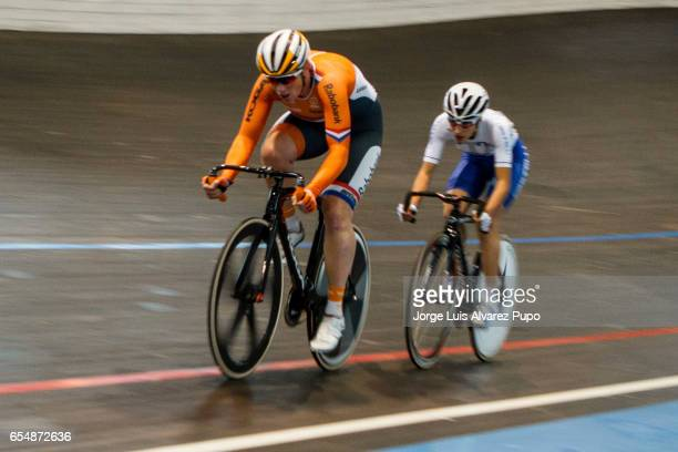 Kirsten Wild of Netherlands and Elisa Balsno of Italy compete in the Women's Scratch race of the Omnium on day two of the Belgian International Track...