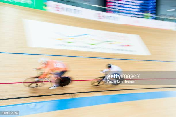 Kirsten Wild of Netherlands and Lotte Kopecky of Belgium compete in the Women's Points Race 25 km Final during 2017 UCI World Cycling on April 16...